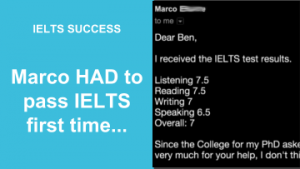 Marco HAD to pass IELTS first time...